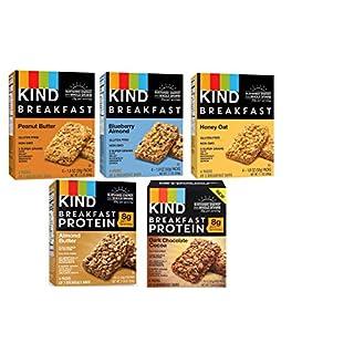 Kind, Breakfast Bars, Variety 5 Box (8ct ea): Dark Chocolate Cocoa, Honey Oat, Peanut Butter, Almond Butter, Peanut Butter Banana Maple Cinnamon, Blueberry Almond