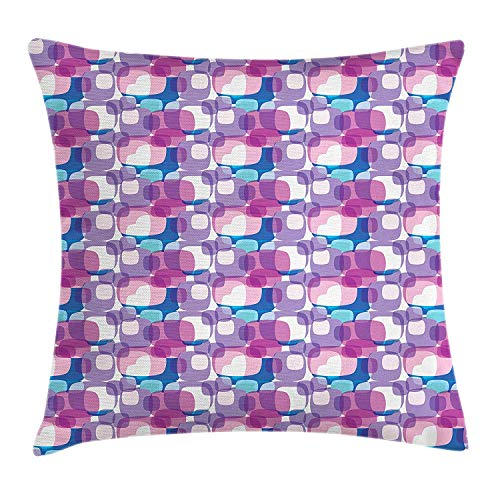 HFYZT Geometric Throw Pillow Cushion Cover, Digital Pastel Colored Square Shapes Fantasy Abstract Contemporary Illustration, Decorative Square Accent Pillow Case, 18 X 18 Inches, Multicolor
