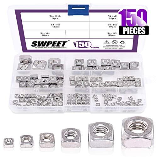 Swpeet 150Pcs 304 Stainless Steel 6 Sizes Metric Square Nuts Assortment Kit, Machine Screw Nuts Metric Coarse Thread - M3 M4 M5 M6 M8 M10