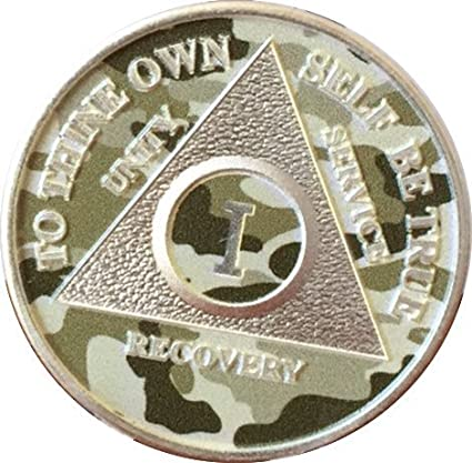 Camo /& Silver Plated 2 Year AA Chip Alcoholics Anonymous Medallion Coin Sobriety