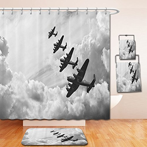 LiczHome Bath Suit: Showercurtain Bathrug Bathtowel Handtowel Airplane Decor Set Retro Image ofancaster Bomber Jets from Battle Royal Air Force in Clouds Plane Photo Accessories Etralong Grey For (Diva Halloween Battle Royal)