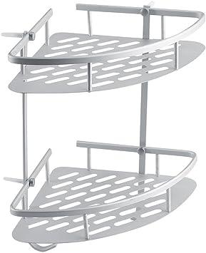 Aluminum Shower Basket Shelf Bathroom Wall Corner Rack Storage Organizer Holder