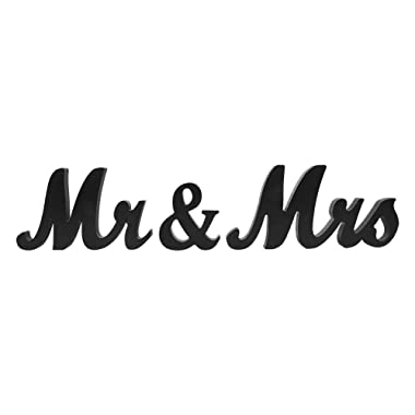 Zerodis Mr & Mrs Wood Plaque Wooden Sign Words Board Home Wedding Just Married Home Decorative Letters(Black)