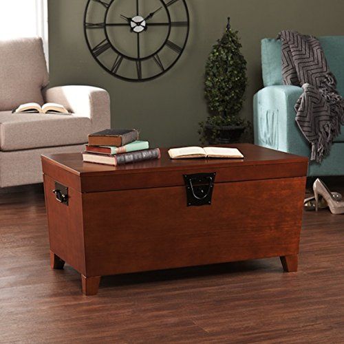 Rectangle Indoor Contemporary Mission Modern Style Brown Trunk and Cocktail Table