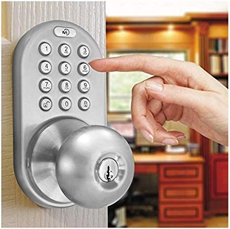 MiLocks TKK-02SN Tkk-Sn Digital Door Knob Lock with Electronic Keypad for Interior Doors Satin Nickel