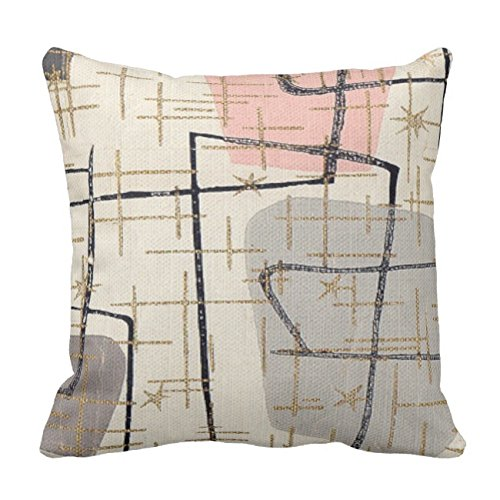UOOPOO Mid Century Modern Abstract Fabric Throw Pillow Case Square 16 x 16 Inches Soft Cotton Canvas Home Decorative Wedding Cushion Cover for Sofa and Bed Print On One Side 51FX6D8duyL