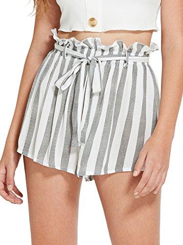 Romwe Women's Casual Elastic Waist Summer Shorts Jersey Walking Shorts Grey XL (Waist Short Stripe)