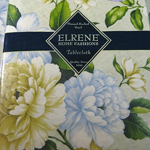 Flannel Back Vinyl Tabelcoths -Floral -By Elrene- Assorted Sizes -Square, Oblong and Round (52 x 70 ()
