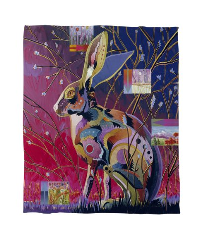 Manual Woodworkers & Weavers Coral Fleece Throw, 50 by 60-Inch, Alert Jack Rabbit Bunny Fleece Blanket