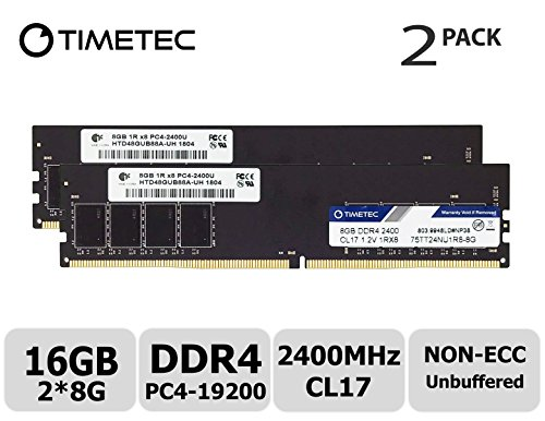 (Timetec Hynix IC 16GB Kit (2x8GB) DDR4 2400MHz PC4-19200 Unbuffered Non-ECC 1.2V CL17 1Rx8 Single Rank 288 Pin UDIMM Desktop Memory RAM Module Upgrade (Single Rank 16GB Kit (2x8GB)))