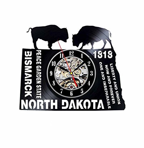 North Dakota State Bison Vinyl Record Wall Clock - Decorate your home with Modern Art - Best gift for man, woman, boyfriend and girlfriend - Win a prize for feedback