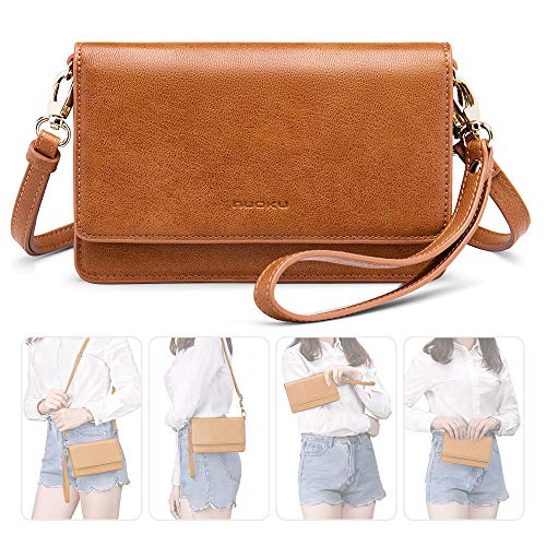 nuoku Women Small Crossbody Bag Cellphone Purse Wallet with RFID Card Slots 2 Strap Wristlet(Max 6.5'')(Brown)