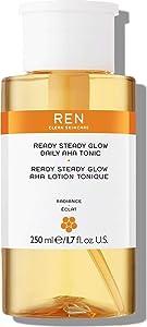 REN Clean Skincare Ready Steady Glow Daily AHA Tonic (8.5 Fl Oz) Even Skin Tone & Brightness with Resurfacing AHAs & BHAs