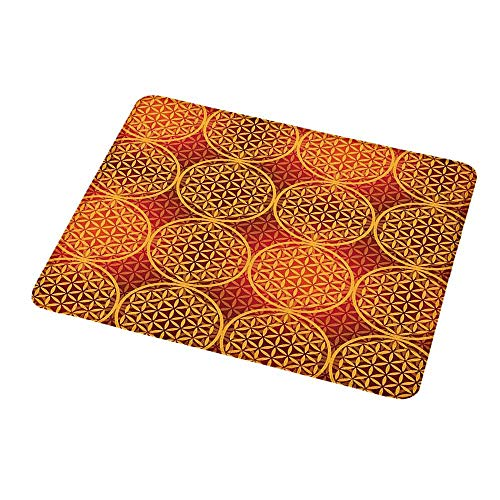 Mouse Pad Oblong Shaped Mouse Mat Victorian,Vintage Style Flower with Medieval Tones Rococo Baroque Esoteric Motif,Mustard Orange,Non-Slip Thick Rubber Mousepad Mat 9.8