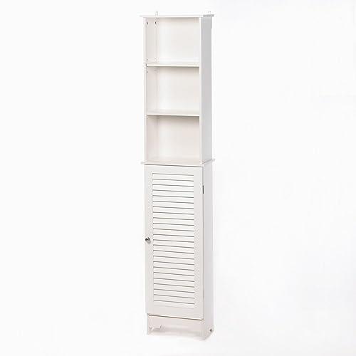 Nantucket Cottage White Tall Storage Cabinet Shelf Unit