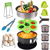 Yodeace 14Pcs Accessories Compatible with Instant Pot 6 quart 8 quart with Steamer Baskets, Egg Bites Mold, Springform Pan, Silicone Trivet Mat, Egg Steamer Rack, Kitchen Tong, Dish Plate Clip, 2 Silicone Glove & 3 Magnetic Cheat Sheets Perfect Fit 5qt/6qt/8qt Pressure Cooker