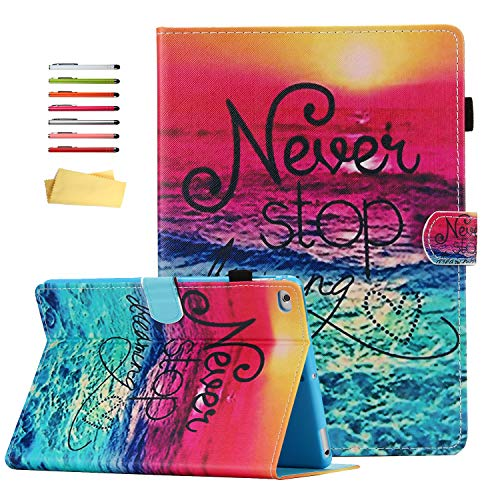 Smart Case for Apple iPad 9.7 2018 2017 (iPad 6th/5th Gen) & iPad Air/Air 2, UUcovers Multi-Angle Folio Stand Magnetic PU Leather Cover with Card Pencil Holder [Auto Sleep/Wake], Never Stop Dreaming -
