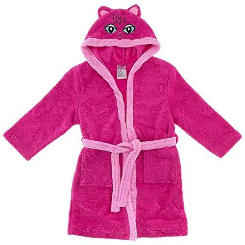 Sweet & Sassy Little Girls' Dark Pink Cat with Hood Bathrobe 5-6