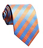 Allbebe Men's Classic Striped Orange Blue Jacquard Woven Silk Tie Formal Necktie