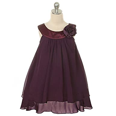 Amazon.com: Kids Dream Eggplant Chiffon A Line Flower Girl Dress ...