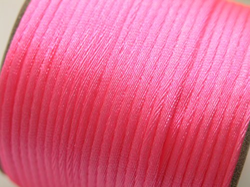 - U PICK Wholesale Multi-colors 2 Roll 100 Yards 2.0mm Rattail Satin Silk Cord Chinese Knot Beading Cord (09 Neon Pink)