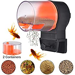 Mylivell Automatic Fish Feeder,Aquarium Tank Timer Feeder Vacation Auto Fish Feeder Battery-Operated Automatic Turtle/Gold Fish Weekend Holiday 2 Fish Food Dispensers