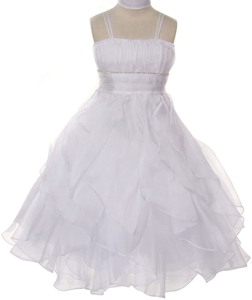 b5a45d7346f3 Amazon.com: Big Girls' Dreamer pepi Crystal Pleated Multi Layered Pageant  Easter Flower Girl Dress White 14 (C03B21): Clothing