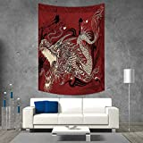 smallbeefly Dragon Vertical Version Tapestry Angry Dragon Doodle on Grunge Background Japanese Mythology Eastern Ethereal Pattern Throw, Bed, Tapestry, or Yoga Blanket 60W x 80L INCH Ruby Ivory