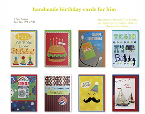 Assorted Handmade Embellished Birthday Cards Box Set 8 Pack Card Assortment Mustache Sail Boats Music Cheeseburger In Bulk For Teens Kids Him