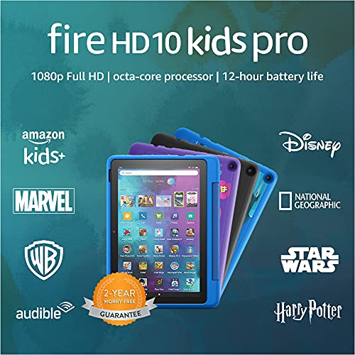 New: Fire HD 10 Kids Pro tablet | for ages 6-12 | 10.1″, 1080p Full HD, 32 GB | Doodle Kid-Friendly Case