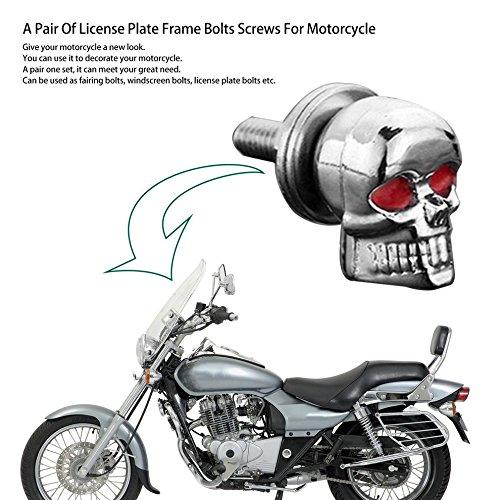 Apellin - Juego de 2 Pernos para Marco de matrícula, diseño de Calavera, para Motocicleta