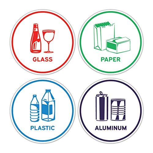 Recycling Sorting Sticker Signs Decals - Paper, Aluminum, Plastic, Glass (Set of 4 Stickers) ()