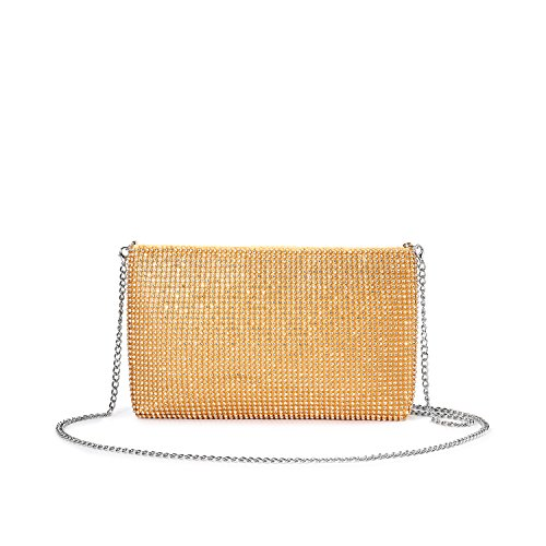 (LOVEVOOK Evening Bag Crossbody Bag Clutch Purse for Party Prom with Sparkly Rhinestones Gold )