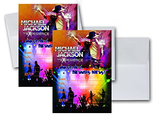 12 Michael Jackson Anniversary Birthday Invitation Cards (12 White Envelops Included) #1