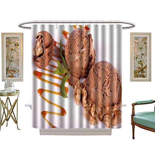 luvoluxhome Shower Curtains Digital Printing Mocha ice Cream Dessert with Caramel Sauce and Walnuts Bathroom Decor Set with Hooks W69 x L75]()