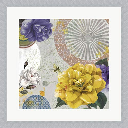 Texture Bouquet by Posters International Studio Framed Art Print Wall Picture, Slim Silver Frame, 19 x 19 inches