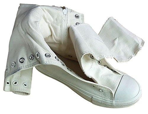 Casuel Confort Sneakers Lacet Mauea Botte Genou au Mode Femme Tennis Montantes Baskets Chaussures Plate Toile Cwq14