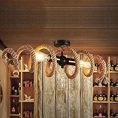 NIUYAO 28'' Vintage Industrial Rope Semi Flush Mount Ceiling Light Lamp Fixture Kitchen Dining Room Living Room Pendant Chandelier Lighting with 2 lights