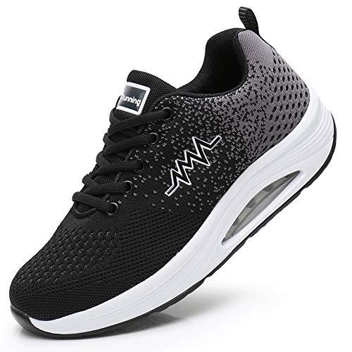JARLIF Women's Comfortable Platform Walking Shoes Breathable Casual Tennis Air Fitness Sneakers US5.5-10 BlackGray 10 B(M) US