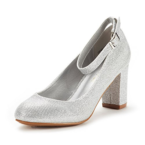 DREAM PAIRS Women's Demilee Silver Glitter High Chunky Heel Pump Shoes Size 8 B(M) ()