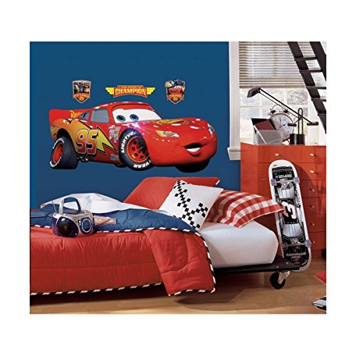 New GIANT LIGHTNING MCQUEEN WALL DECAL Disney Cars Movie Stickers Racing (Cars Giant Wall Sticker)