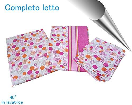 Completo biancheria da letto lenzuola in cotone stampato per letto singolo fucsia rigato - Biancheria da letto amazon ...