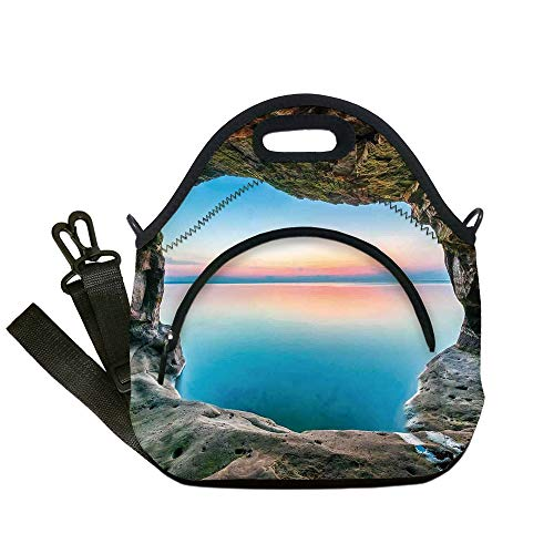 - Insulated Lunch Bag,Neoprene Lunch Tote Bags,Natural Cave Decorations,Fairy Image of the Horizon Inside Hidden Grotto Upper Paradise Point Tranquil Life,Multi,for Adults and children