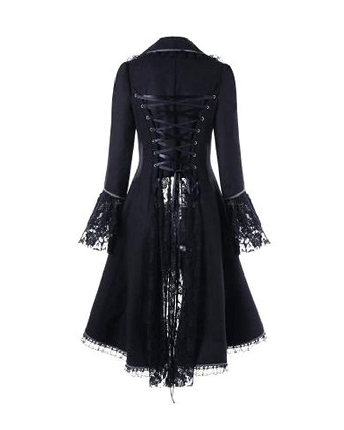 Manteaux Dentelle Femme Vintage Gothique Manche Longue Elégant Mi-Long  Blouson Noir M  Amazon.fr  Vêtements et accessoires 394d5ffca61