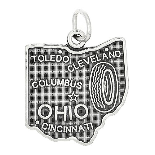 Lgu Sterling Silver Oxidized State of Ohio Charm ()