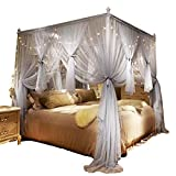 Nattey 4 Corner Poster Princess Bed Curtain Canopy Mosquito Netting with Led Light