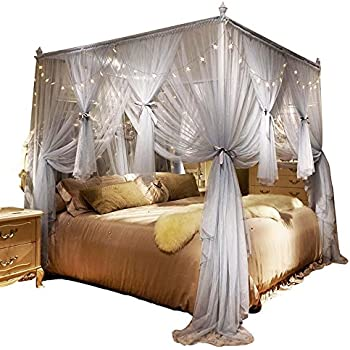 Amazon Com Nattey 4 Corners Post Canopy Bed Curtain For