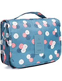 Toiletry Bag Multifunction Cosmetic Bag Portable Makeup Pouch Waterproof Travel Hanging Organizer Bag for Women Girls, Blue Flowers