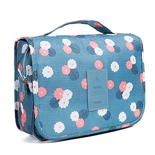 (HaloVa Toiletry Bag Multifunction Cosmetic Bag Portable Makeup Pouch Waterproof Travel Hanging Organizer Bag for Women Girls, Blue Flowers)
