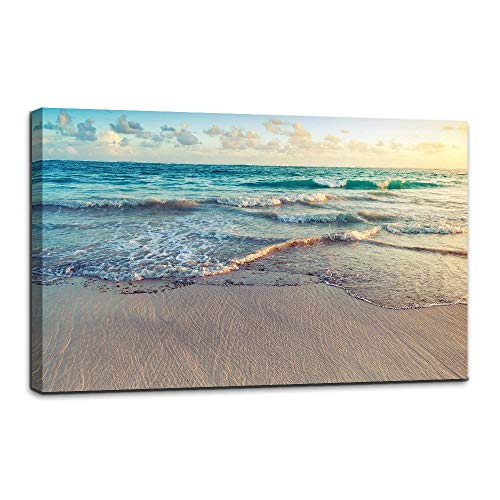 AMEMNY Painting Artwork Printed on Canvas Blue Seaview Beach Ocean Wooden Framed Ready to Hang for Bedroom Living Room Bathroom Office Home Decorations